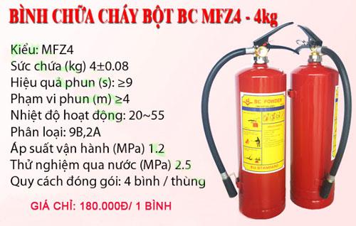 Bình Chữa Cháy Giá Rẻ MFZ4 4KG